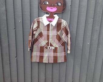 1970s brown check girls dress drop waist vintage 3 years buckle & zip detail