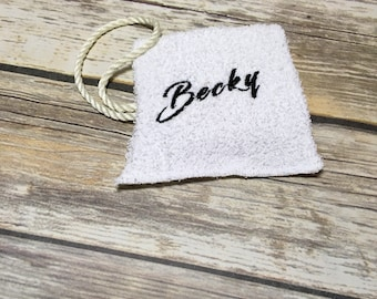 Washcloth with name, Personalized soap, soap sock, camping soap, soap sack, soap scrubby, soap saver, sack of soap, travel soap