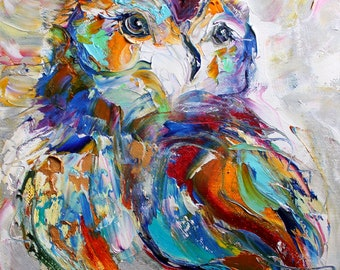 Owl print - made from image of past oil painting by Karen Tarlton - Owl Whimsy -  impressionistic palette knife modern art