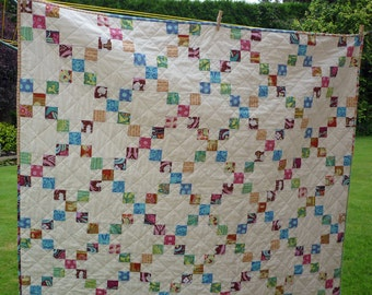 PDF Quilt Pattern, Jelly Roll Pattern, Beginner Pattern, Modern Quilt Pattern, Baby Quilt Pattern, 5 sizes Baby to King, Garden Trellis