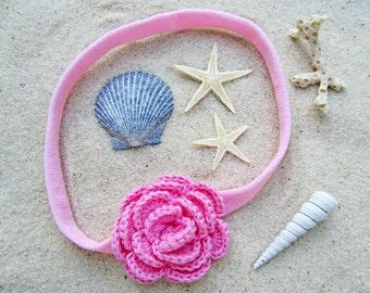 Crochet Camellia Headband in Pink Grapefruit // Light Pink Crochet Flower Headband  // Infant Headband // Newborn Photo Prop