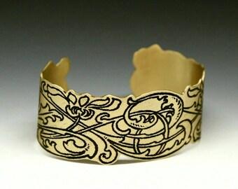 Art nouveau cuff, brass cuff, etched brass, art nouveau jewelry, art nouveau bracelet, art nouveau, adjustable cuff,  adjustable bracelet