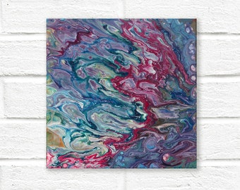 Original abstract painting on canvas, square painting, original painting, small painting, Abstract Wall Art, fluid painting, fluid acrylic