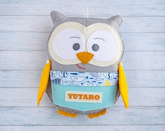 Gray blue stuffed owl Tooth fairy Personalized animals Boy gifts Baby boy nursery Custom owl Forest friends Owl baby shower Cute plushie