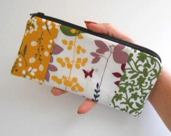 Zipper Pouch for Phone Large Cosmetic Zipper Pouch ECO Friendly Padded NEW SIZE Tri Forest Glen