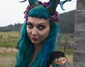 Jackalope Medium Antler Moss and Flower Headband