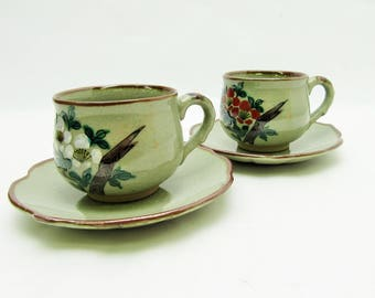 Kutani-ware.Pair Coffee cup & saucer.Vintage Japanese Pottery.1970's#ynm42