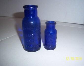 1920's Lot of 2 Bromo Seltzer Emerson Drug Co Baltimore, MD 2 1/2 to 4   inch cobalt blue medicine bottles No 4 - 2016
