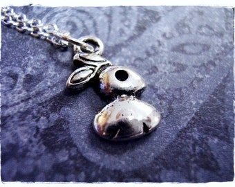 Tiny Silver Rabbit Necklace - Antique Pewter Rabbit Charm on a Delicate Silver Plated Cable Chain or Charm Only