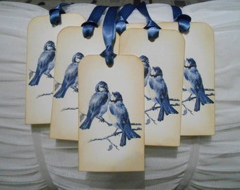 Vintage Inspired Bluebirds Gift/Wish Tree Tags