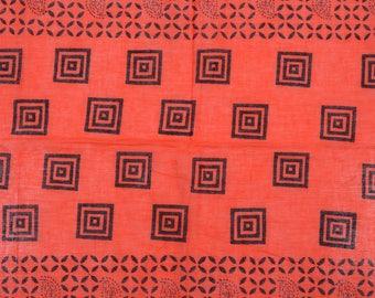 Hand block Print , Orange Black , 1 Yard