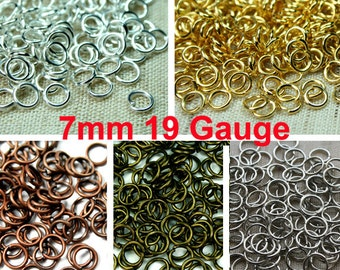75pcs 7mm 19 Gauge Open Jump Rings Heavy Strong, Plated in Silver, Gold, Antique Brass, Antique Copper, Antique Silver - Pick Finish