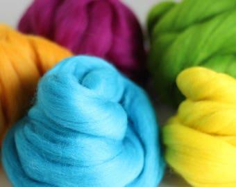 Summer Wool Bundle, Roving, Wool Roving, Needle Felting, Felting Wool, Dyed Roving, Roving Wool, Merino Wool, Needle Felting Kit, Wool