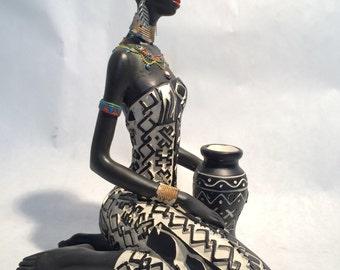 African Woman Statue Sitting - Kenyan Tribal Art Doll Figurine Sculpture Home Decoration