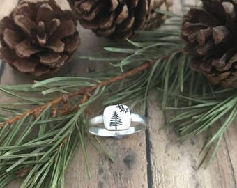 Pine Tree and Sun Ring, Hand Stamped Nature Ring, Pine Trees and Sun Hiking Ring
