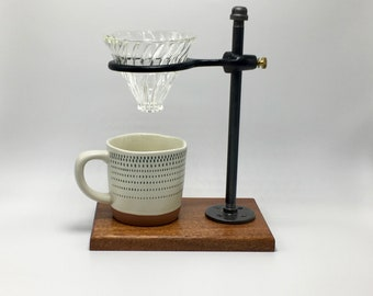 Adjustable Pour Over Coffee Maker - Sapele/Hario v60: gift for him, gift for her, wood, home decor, industrial, housewarming