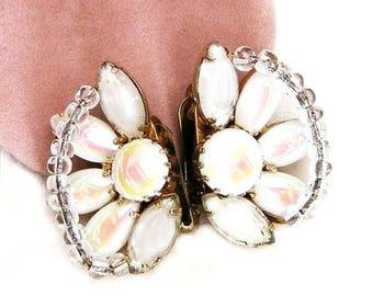 Hobe Signed White Iridescent Clip Earrings