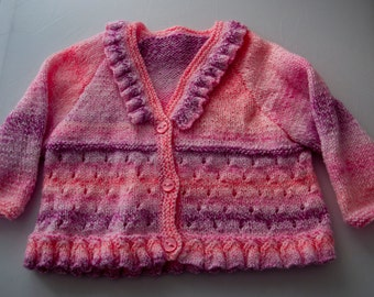 Handknitted Girl's Cardigan With Ruffles For 3 year old.