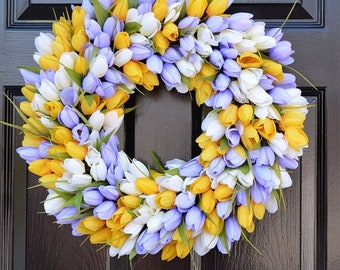 SPRING WREATH SALE Ready to Ship- 20 inch Lavender/Yellow/White Spring Tulip Wreath
