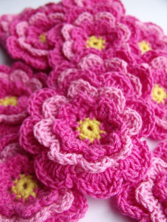 Gehäkelte Blumen 4pk Pink und gelb häkeln Applikationen