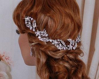 Wedding Crystal Hair Wreath Bridal Vine Headpiece Bride Headband Hairband Weddings Accessory Accessories Head Hair Piece Hairpiece Jewelry