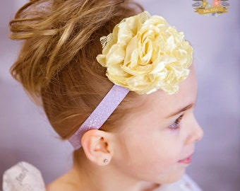 Light Purple Glitter  & Yellow Satin Lace Flower  Headband - Newborn -Toddler  - Photo Prop Flower Girl Womens - Spring Lavender