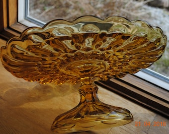 "Anchor Hocking Fairfield  10"" Cake Stand in Amber / Yellow"