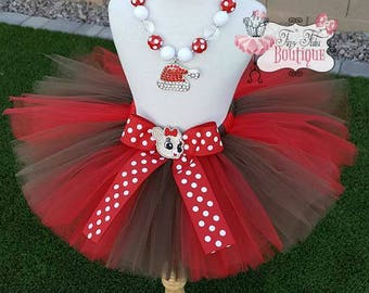 CLARICE REINDEER inspired- Red and Brown, polka dot baby/child Tutu with hairbow:  Newborn-5T
