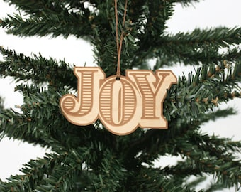 Joy Ornament | Wood Ornament | Holiday Decoration | Holiday Ornament | Christmas Ornament | Home Decor | Joy | Made in Maine