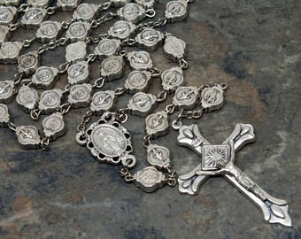 Silver Miraculous Medal Rosary, All Metal Rosary, 5 Decade Rosary, Catholic Rosary, Marian Rosary, Mary Rosary