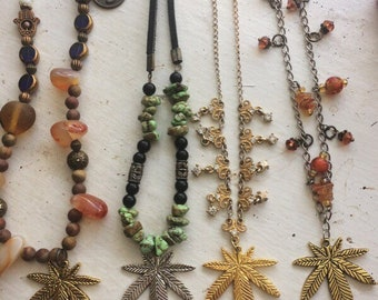 Hand Beaded Cannabis Leaf Necklaces