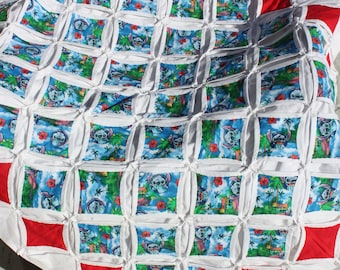 Lilo and Stitch Cathedral Window Quilt - Hand-Stitched