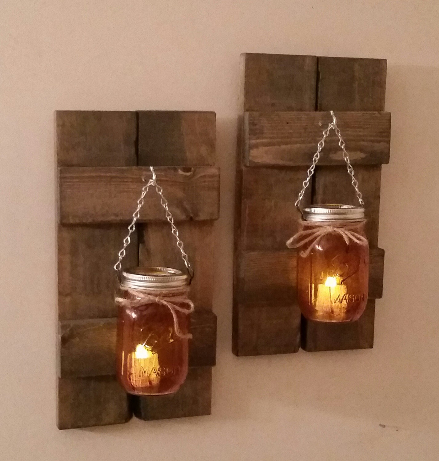 Rustic wood wall sconce with ball mason jar candle holder with zoom amipublicfo Images