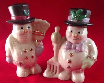 Lenox Snowmen Salt and Pepper Shakers Top Hats Gold Trim