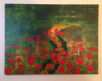 "Original Abstract Painting: 35""x49"" poppies on a yellow brick road"