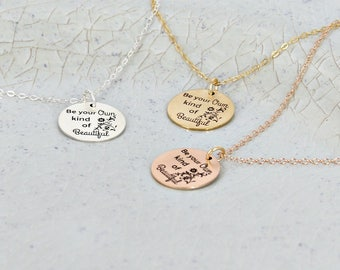 Be your own kind of beautiful necklace • Engraved necklace • Silver, Gold filled or Rose gold filled Jennifer Perrin • Statement necklace
