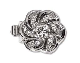 CLSP51SP 1 Strand Elegant Elements Floral Clasp Silver Rhodium Finish