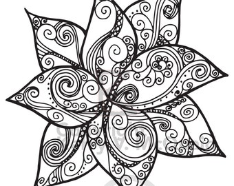 spiral flower page instant pdf download coloring page hand drawn zendoodle doodle