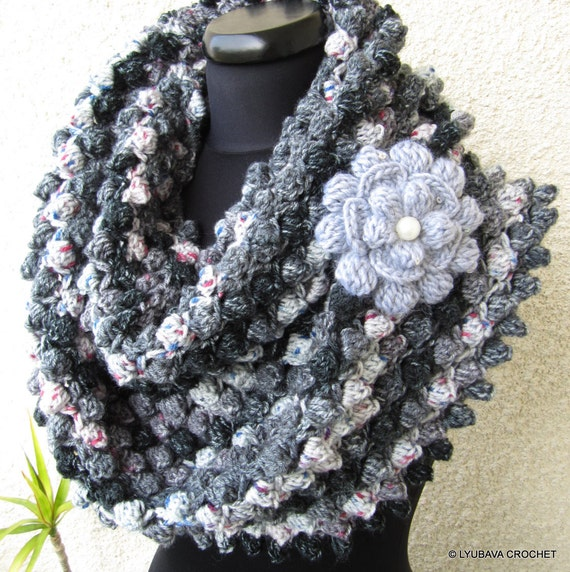 Crochet Scarf PATTERN, Infinity Scarf, Flower Pattern, DIY Scarf ...