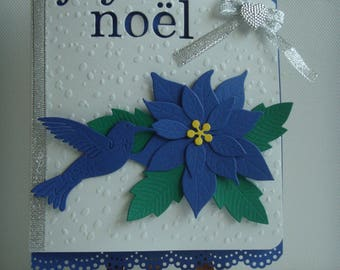 "Kit card ""Merry Christmas"" embossed snow blue poinsettia Navy flower to make you even"
