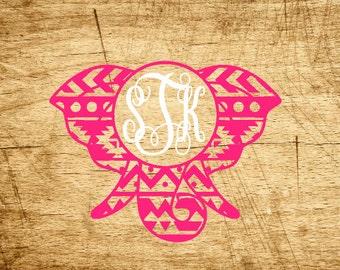 Aztec Elephant Monogram Decal