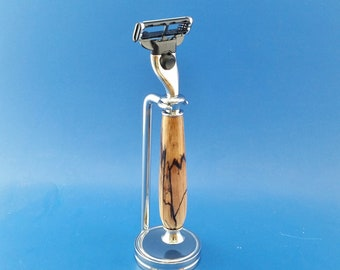 Handcrafted shaving set, razor, stand, Spalted Hackberry,  wood, Fusion or Mach3