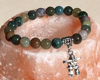 Inukshuk Bracelet, Mothers Day Gift, Indian Agate Rainbow, Inukshuk Jewelry, Men Bracelet Gemstone, Quebec Bracelet, Charm Inukshuk Gift