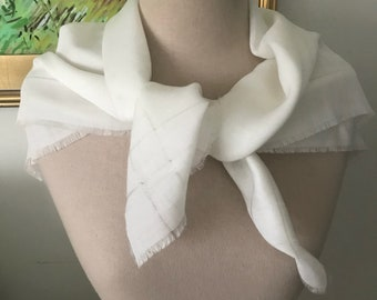 Vintage Fringe Scarf 100% Woven Ivory White Head Wrap 1980s Summer Large Square Scarves for Her