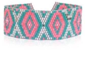 Friendship Seed Bead Bracelet, Blue, Silver, Pink Tassel Bracelet, Cuff, Beaded Bracelet, Tribal Bracelet, Festival Jewelry, Boho Accessory