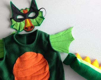 Green Dragon Costume - Felt Mask, Wings, Tail, & Vest - Wool or Eco Felt