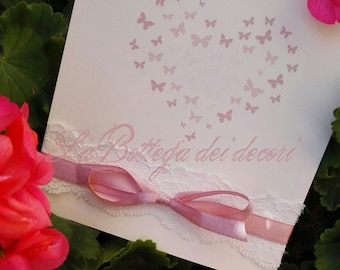 Participation in powder pink butterflies, handmade, personalized