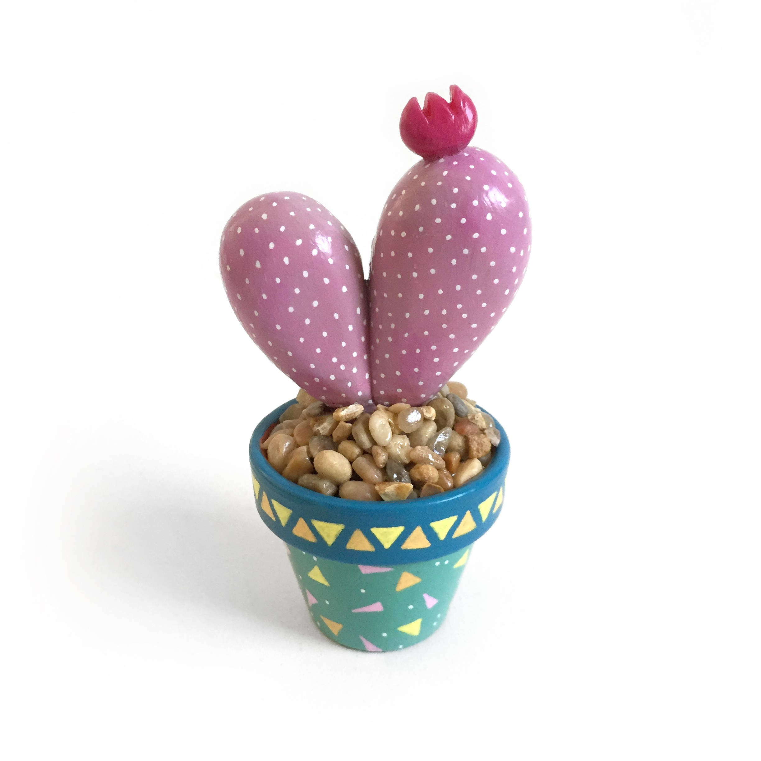 Miniature Cactus Sculptures Pink Cactus With A Red Flower In