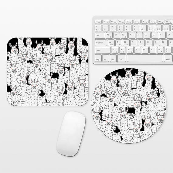 Llama Mouse Pad Black and White Mousepad Fun Unique Mouse Pad for Him, Llama Gift Llama Mousepad, Home Office Mouse Pad, Desk Accessories