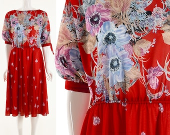 Red Floral Dress Floral Red Dress Knee Length Watercolor Floral Print Dress